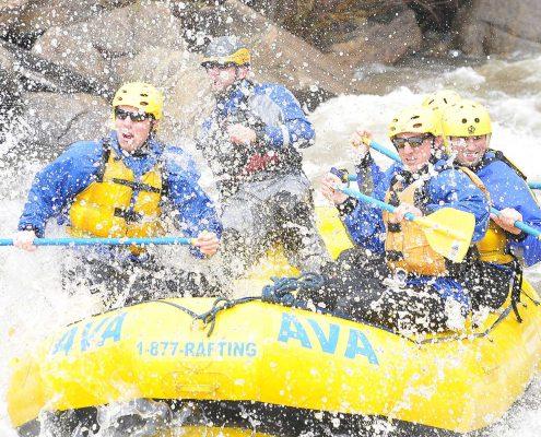 Rafting a rapid